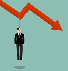 Businessman hang himself on a graph down vector