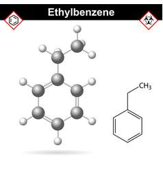 ethylbenzene organic solvent molecular structure vector image vector image