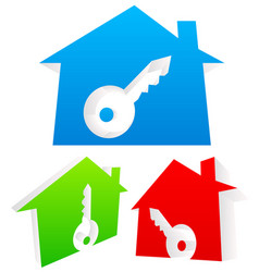 3d houses with keyhole real estate home security vector