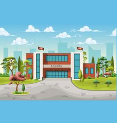 A school building in cartoon style vector