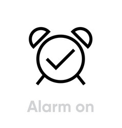 alarm clock icon editable line vector image