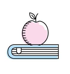 Apple fruit over close book vector