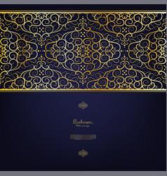Arabesque blue gold background border vector