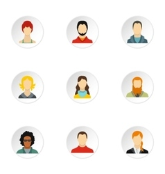 Avatar people icons set flat style vector