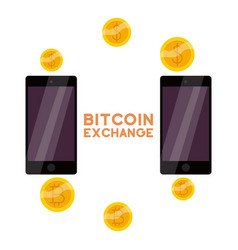 bitcoin exchange icon cartoon style vector image