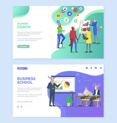 Business coach and school hipster animals website vector