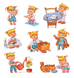 cartoon kid daily routine activities set vector image
