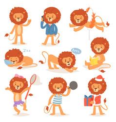 cartoon lion kids leo character of wild vector image