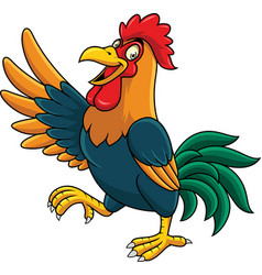 cartoon rooster presenting vector image