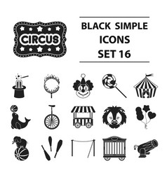 Circus set icons in black style big collection vector