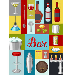 Cocktail bar background essential tools vector