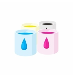 Color cartridges for printer icon cartoon style vector