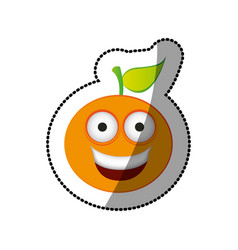 colorful kawaii fruit orange happy icon vector image