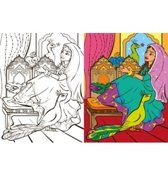Colouring Book Of Easten Princess vector image vector image