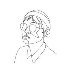Continuous one line portrait man in glasses and vector