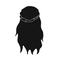 Dark loose hair behindback hairstyle single icon vector