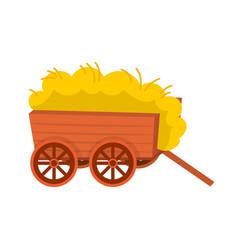 Design hay and cart logo set hay and vector
