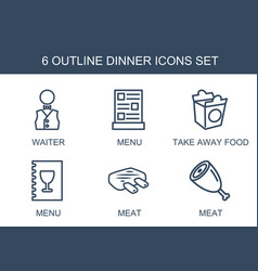 dinner icons vector image
