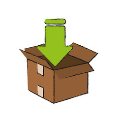 downloading in box vector image vector image