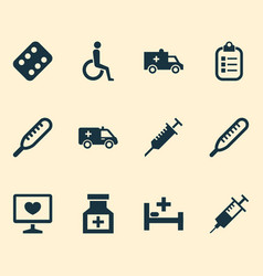 drug icons set with medicament thermometer vector image