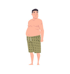Fat overweight man with big belly obese man in vector