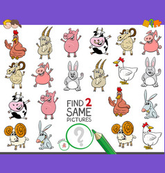 Find two same farm animals game for children vector
