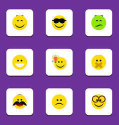 Flat icon expression set of hush happy grin and vector
