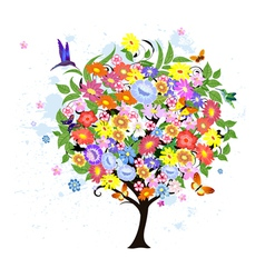 Flower abstract tree with birds vector image