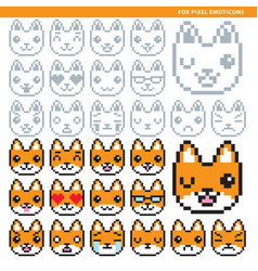 fox pixel emoticons vector image