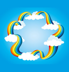 frame from rainbow and clouds vector image