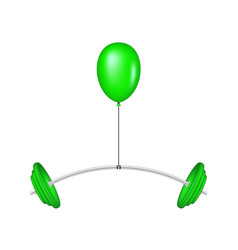 Green balloon lifting a heavy barbell vector