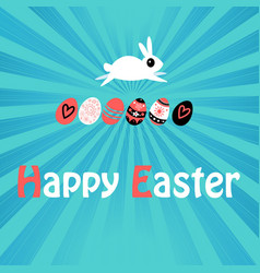 greeting easter card with rabbit and eggs vector image