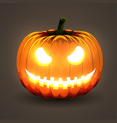 Halloween pumpkin with glowing eyes on dark vector