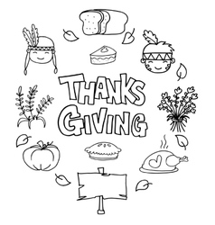 Hand draw of style thanksgiving doodles vector