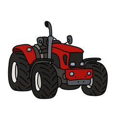 Hand drawing of a red open heavy tractor vector