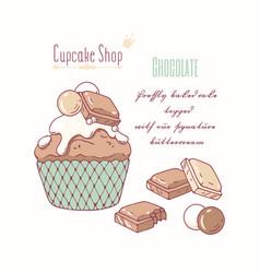 Hand drawn cupcake milk chocolate flavor vector