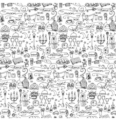 Hand drawn evening seamless pattern vector image