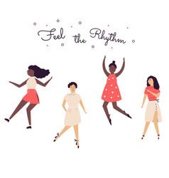 happy dancing women with cheerful vector image