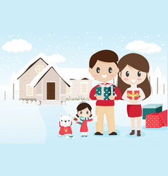 happy family with pet french bulldog on snowy vector image