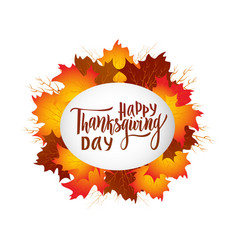Happy thanksgiving day greeting lettering phrase vector