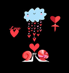 in love with cloud and snails vector image