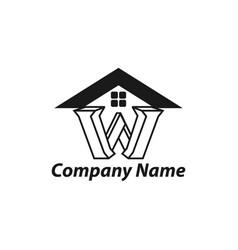 Initial latter w monogram logo real estate design vector