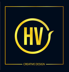 Initial letter hv logo template design vector