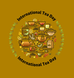 international tea day card vector image