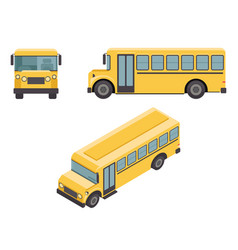 Isometric 3d retro flat design school buss car vector