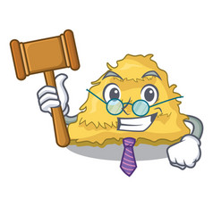 Judge hay bale mascot cartoon vector
