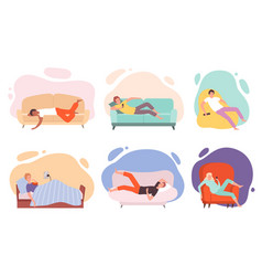 lazy characters laying people on couch or sofa vector image