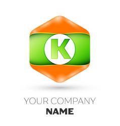 Letter k logo in the colorful hexagonal vector