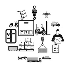 logistics simple icons vector image