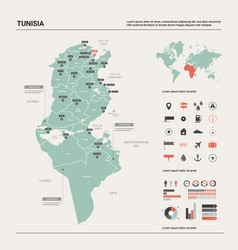 Map tunisia country map with division cities vector